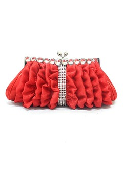 Elegant Satin With Crystal/ Rhinestone/Ruffles Clutches