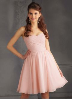 A-Line/Princess Strapless Sweetheart Knee-Length Chiffon Bridesmaid Dress With Ruffle