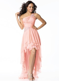 A-Line/Princess One-Shoulder Asymmetrical Chiffon Prom Dress With Beading