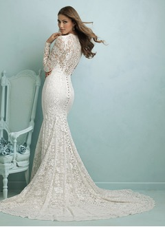 Trumpet/Mermaid V-neck Chapel Train Satin Lace Wedding Dress  ...