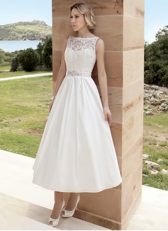 A-Line/Princess Scoop Neck Tea-Length Satin Wedding Dress With Ruffle Lace Beading