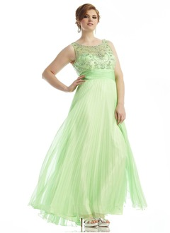 A-Line/Princess Scoop Neck Floor-Length Chiffon Tulle Prom Dress With Beading
