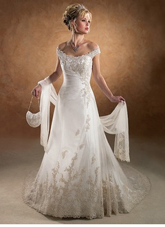 A-Line/Princess Off-the-Shoulder Chapel Train Satin Tulle Wedding Dress With Ruffle Beading Appliques Lace