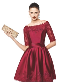 A-Line/Princess Off-the-Shoulder Knee-Length Satin Evening Dress With Lace
