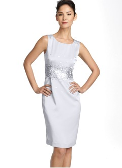 Sheath/Column Scoop Neck Knee-Length Satin Cocktail Dress With Sequins