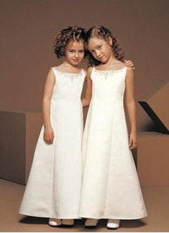 A-Line/Princess Strapless Ankle-Length Satin Flower Girl Dress With Beading