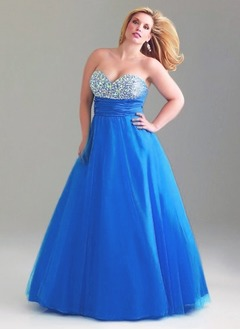 Ball-Gown Sweetheart Sweep Train Taffeta Tulle Prom Dress With Ruffle Beading