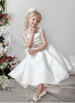 A-Line/Princess Scoop Neck Ankle-Length Organza Satin Flower Girl Dress