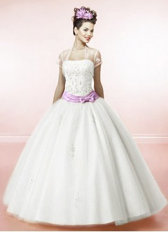 Ball-Gown Strapless Floor-Length Satin Tulle Quinceanera Dress With Lace Sash Beading Bow(s)