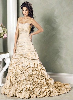 Ball-Gown Sweetheart Court Train Taffeta Wedding Dress With Ruffle Beading Flower(s) Sequins