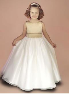 A-Line/Princess Scoop Neck Floor-Length Organza Satin Flower Girl Dress With Beading Bow(s)