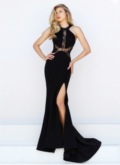 Trumpet/Mermaid Halter Sweep Train Jersey Evening Dress With Lace Beading Split Front