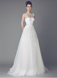 A-Line/Princess Scoop Neck Sweep Train Tulle Wedding Dress With Embroidered Sequins