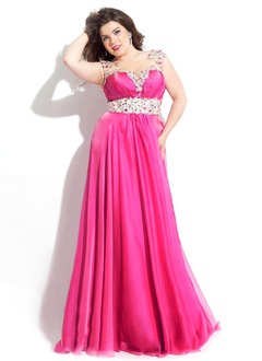 Empire Scoop Neck Sweep Train Chiffon Prom Dress With Beading