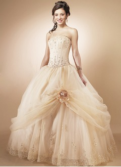 Ball-Gown Strapless Floor-Length Organza Satin Wedding Dress With Ruffle Lace Beading Flower(s)