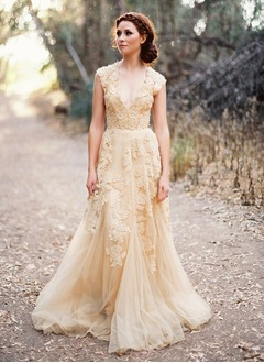 A-Line/Princess V-neck Court Train Tulle Lace Wedding Dress With Beading Appliques Lace (0025059669)