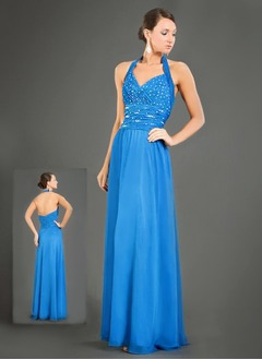 Sheath/Column Halter Floor-Length Chiffon Charmeuse Mother of the Bride Dress With Ruffle Beading