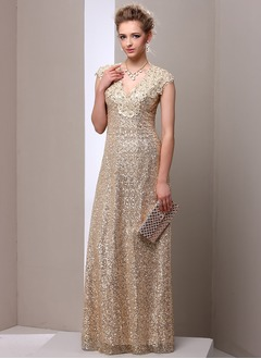 A-Line/Princess Floor-Length Sequined Mother of the Bride Dress With Lace
