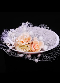 Elegant/Fancy Rhinestone/Net Yarn/Silk Flower/Cambric Fascinators