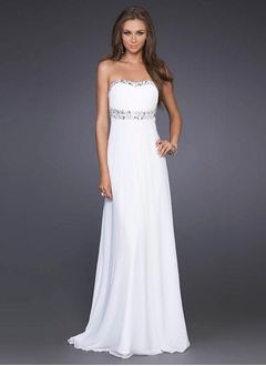 Sheath/Column Strapless Sweetheart Sweep Train Chiffon Evening Dress With Beading