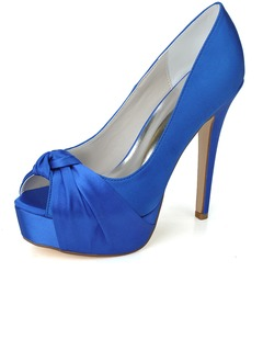 Women's Satin Stiletto Heel Peep Toe Platform Pumps Sandals  ...