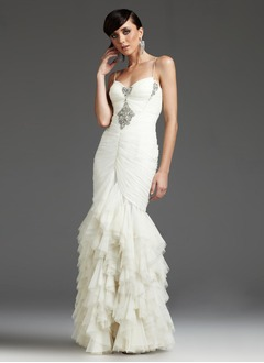 Trumpet/Mermaid Sweetheart Floor-Length Tulle Evening Dress With Ruffle Crystal Brooch