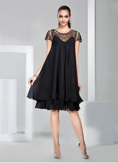 A-Line/Princess Scoop Neck Knee-Length Chiffon Cocktail Dress  ...