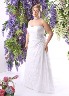 Sheath/Column Strapless Sweetheart Sweep Train Lace Wedding Dress With Ruffle Beading