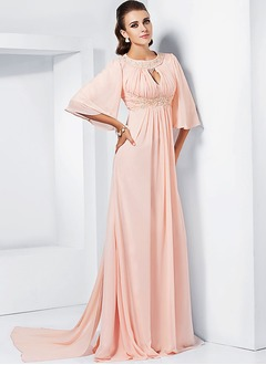 A-Line/Princess Scoop Neck Watteau Train Chiffon Evening Dress With Ruffle Beading Sequins