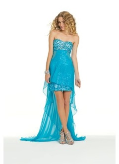Sheath/Column Strapless Sweetheart Asymmetrical Chiffon Sequined Homecoming Dress With Beading