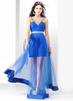 Sheath/Column V-neck Floor-Length Satin Tulle Prom Dress With Ruffle Beading