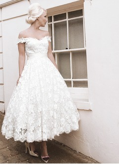A-Line/Princess Off-the-Shoulder Ankle-Length Lace Wedding Dress With Bow(s)