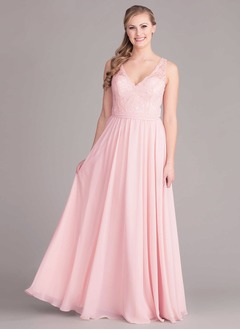 A-Line/Princess V-neck Floor-Length Chiffon Bridesmaid Dress With Lace