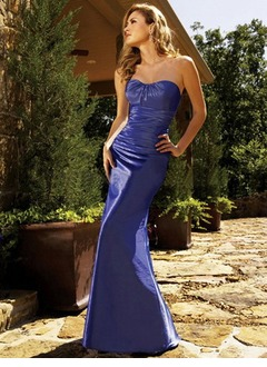Trumpet/Mermaid Sweetheart Floor-Length Taffeta Bridesmaid Dress With Ruffle