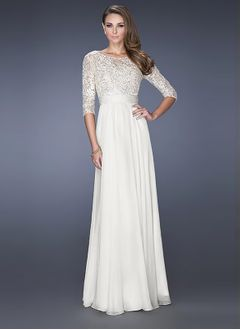 A-Line/Princess Scoop Neck Floor-Length Chiffon Lace Evening  ...
