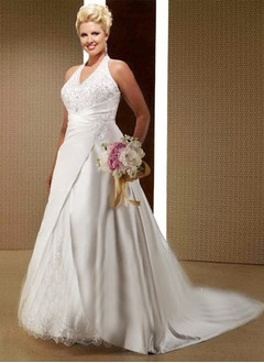 A-Line/Princess Halter Chapel Train Organza Satin Wedding Dress With Ruffle Beading Appliques Lace