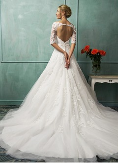 A-Line/Princess Off-the-Shoulder Chapel Train Tulle Lace Wedding Dress With Bow(s)