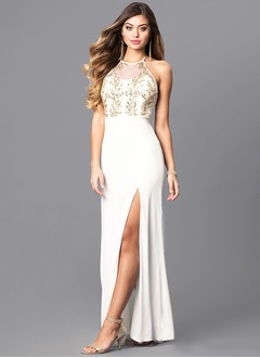 Sheath/Column Halter Scoop Neck Floor-Length Jersey Prom Dress With Sequins Split Front