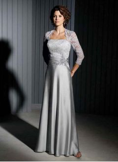 A-Line/Princess Strapless Floor-Length Satin Mother of the Bride Dress With Ruffle Beading Appliques Lace