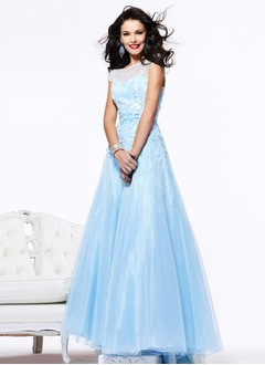Ball-Gown Scoop Neck Floor-Length Taffeta Organza Charmeuse Prom Dress With Beading Flower(s) Bow(s)
