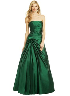 Ball-Gown Strapless Floor-Length Taffeta Evening Dress With Ruffle