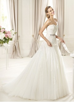 A-Line/Princess Strapless Sweetheart Court Train Satin Tulle Wedding Dress With Beading Appliques Lace
