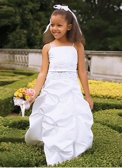 A-Line/Princess Strapless Floor-Length Satin Flower Girl Dress With Lace Beading