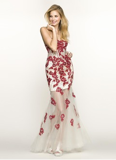 Trumpet/Mermaid Strapless Sweetheart Sweep Train Satin Tulle Evening Dress With Beading Appliques Lace