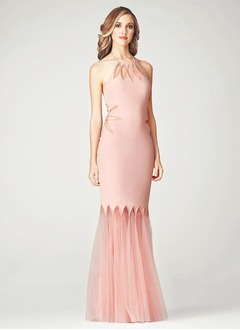 Trumpet/Mermaid Halter Floor-Length Satin Tulle Evening Dress With Appliques Lace
