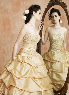 Ball-Gown Strapless Sweetheart Floor-Length Taffeta Quinceanera Dress With Ruffle Lace Beading Sequins