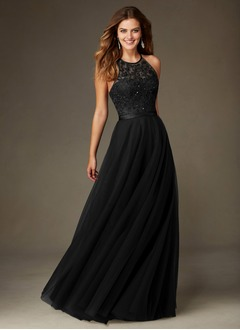 A-Line/Princess Scoop Neck Floor-Length Tulle Bridesmaid Dress With Beading Sequins