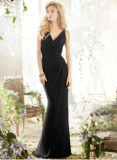 Trumpet/Mermaid V-neck Sweep Train Chiffon Bridesmaid Dress  ...