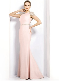 Trumpet/Mermaid Scoop Neck Sweep Train Satin Evening Dress  ...