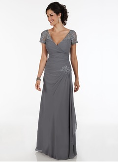 A-Line/Princess V-neck Floor-Length Chiffon Mother of the Bride Dress With Ruffle Beading Appliques Lace